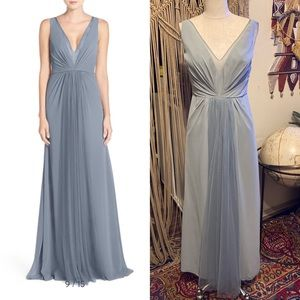 Monique Lhuillier Bridesmaids V-Neck Chiffon Gown